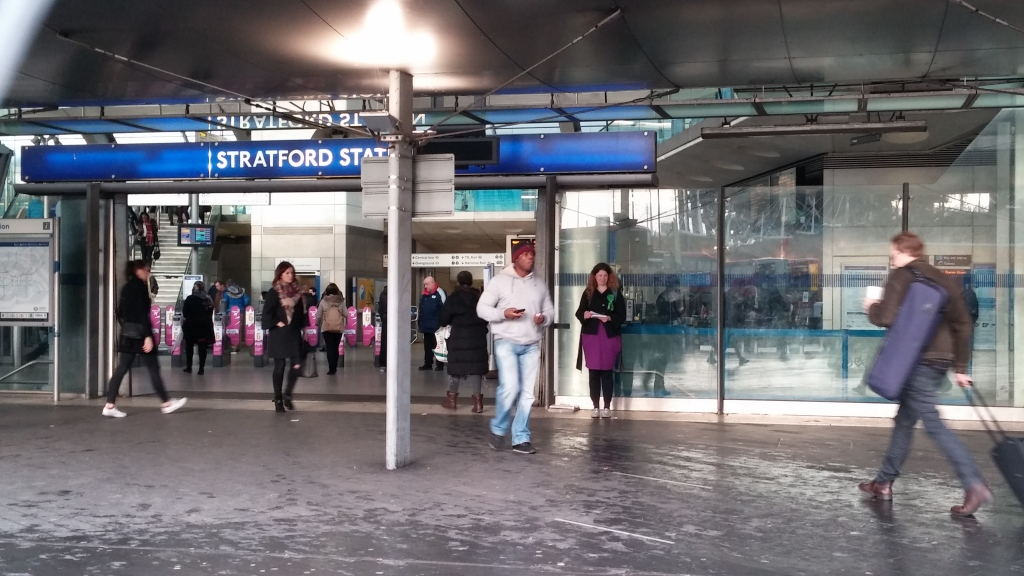 Rachel Collinson leafletting in Stratford