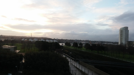 Sun rising over Thames Barrier Park